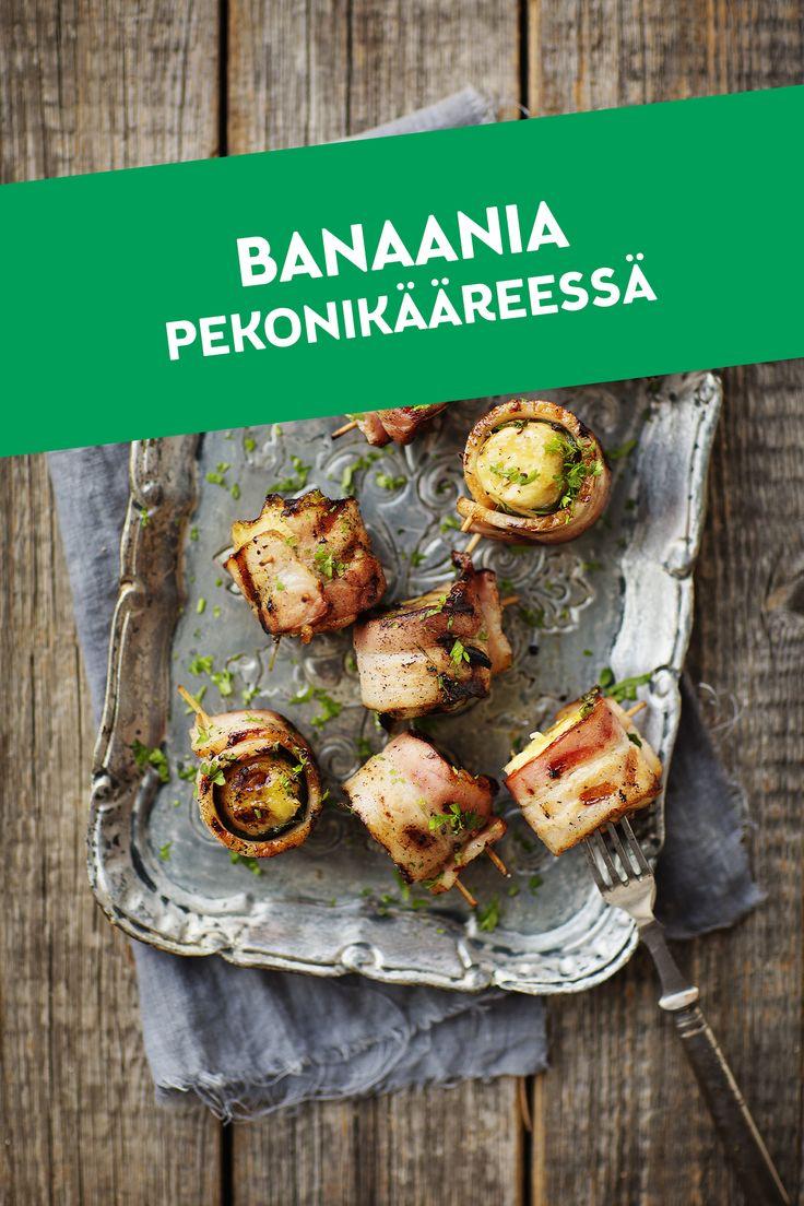 Banaania pekonikääreessä on hauska grilliherkku, joka sopii esimerkiksi lisukkeeksi meheville grillipihveille. Siinä yhdistyvät herkullisesti Herra Snellmanin Grillipekonin suolaisuus ja banaanin makeus.