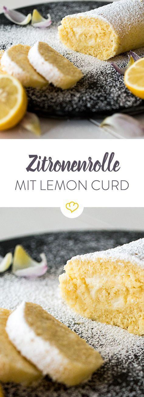Die Zitronenrolle mit selbstgemachtem Lemon Curd ist die perfekte süße Sünde für sonnige Nachmittage. Gekühlt ist sie außerdem eine leckere Erfrischung.