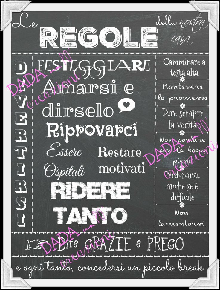 """Poster digitale """"Le regole della casa...""""- Download immediato - Idea regalo - Servizio stampa su richiesta di Dadaunpocreazioni su Etsy"""