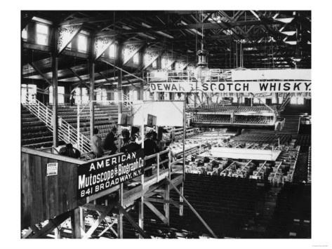 1899 interior of Coney Island Athletic Club (also known as the Coney Island Sporting Club) opened in 1897 in the former Bauer's Casino bathhouse. The 10,000 seat barn-like building was located between Surf Avenue and the ocean at West 8th Street where the New York Aquarium parking lot is now located. The Jim Jeffries vs.Tom Sharkey heavyweight bout, fought at the club on November 3, 1899, was the first fight ever filmed.