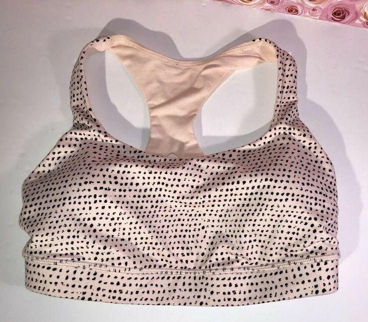 LULULEMON Size 4 Speckled Dots Pale Pink 50 REP Sports Bra