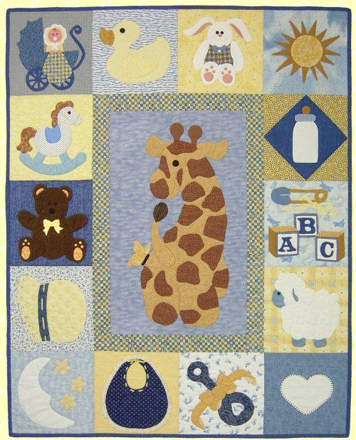 baby girl applique quilt patterns | Make an easy baby quilt from this free baby…
