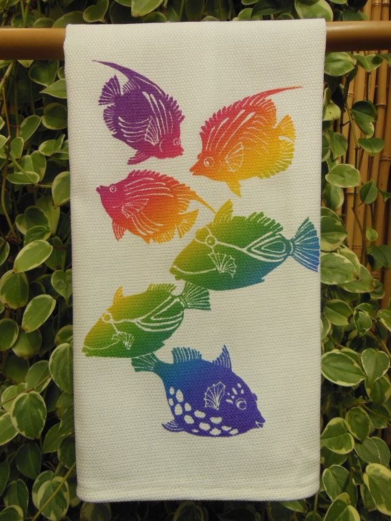 Hawaiian Reef Fish Kitchen Towel by HibiscusTextiles on Etsy, $14.00