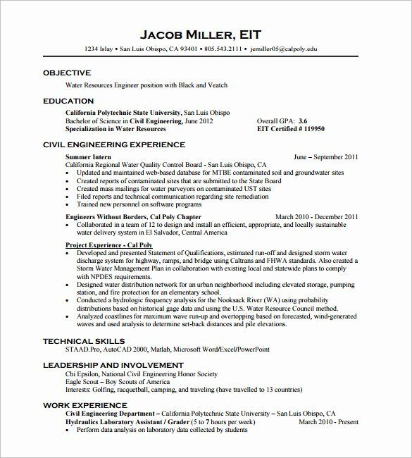 Resume Sample For Fresh Graduate Popular Resume For Civil