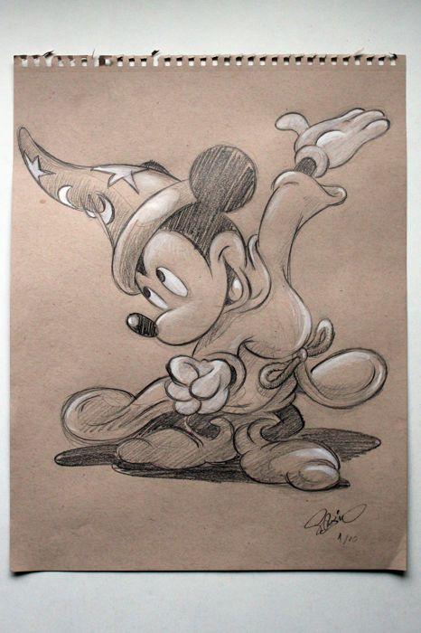 Garrido, Sergio - Original drawing - Mickey aprendiz de brujo (Fantasia 1940 The Sorcerer's Apprentice) Mickey aprendiz de brujo. - W.B.