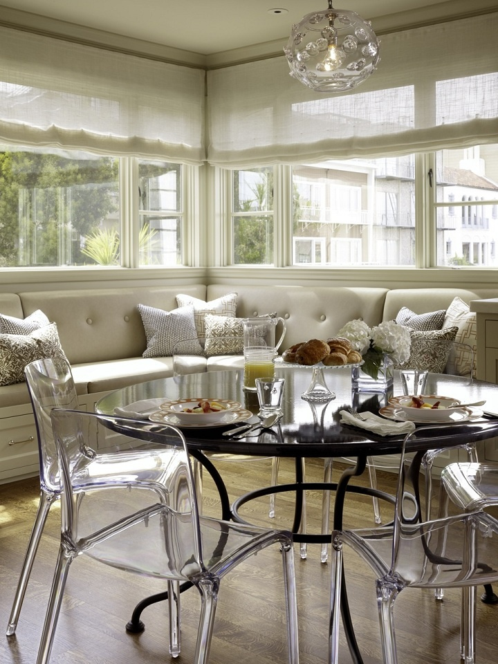 Mix and ChicDecor, Kitchens, Dining Room, Breakfast Nooks, Windows Seats, Dining Chairs, Lucite Chairs, Breakfast Room, Tinek Triggs