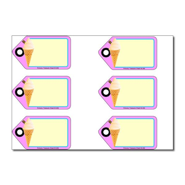 Ice Cream Parlour  Role Play  Tags / Labels