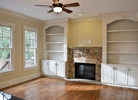 built ins next to fireplace crown molding fireplace