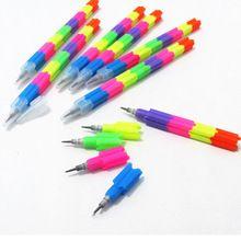 2 unids/lote colorido Stacker intercambio 8 sección de Color bloque de construcción no afilado lápiz bala multifunción lápiz para los niños(China (Mainland))