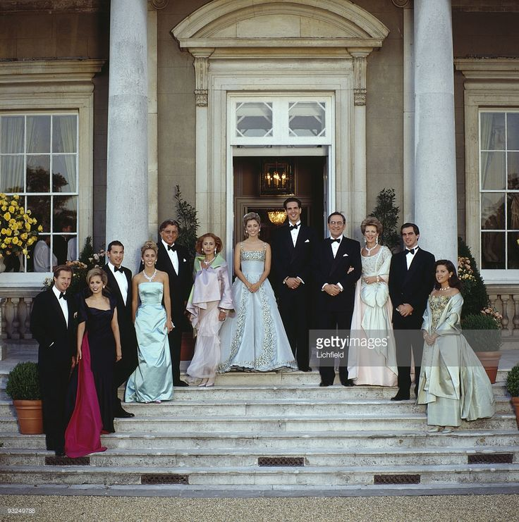 The Greek royal family at Wrotham Park in Hertfordshire, prior to a dinner dance to celebrate the upcoming wedding of Prince Pavlos of Greece to Marie-Chantal Miller, 29th June 1995