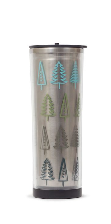 Ready to tumble? A seriously stylish travel mug with double-wall stainless design, now in a festive print! 16oz