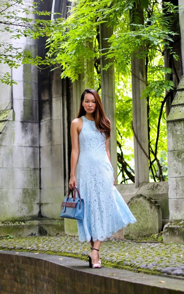 Silk and Suilts - Whistles Cora Lace Dress, Modula England Erin Mini Tote Airforce Blue Mix, Links of London Spirit Collection Jewellery, Zara Sandals