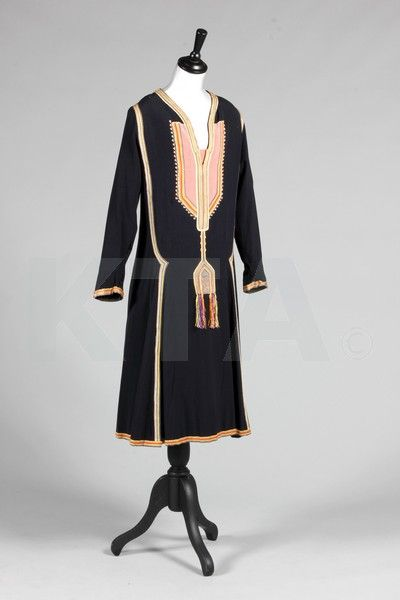 A rare Paul Poiret navy wool day dress 'Persique', Autumn-Winter, 1925, labeled 'Paul Poiret à Paris'