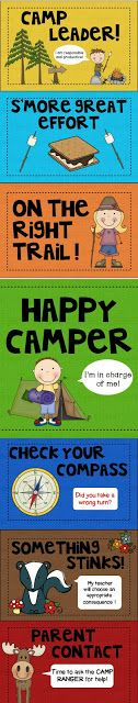 Camping Themed Behavior Clip Chart.  Would like something like this for my Tretter's Trekkers trail theme...