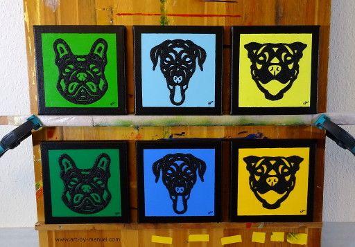 Diese sechs kleinen Hunde Gemälde von Manuel Süess entstanden inspiriert von seinen Tanz- und Pferde-Malereien sowie Pop Art und seinen frühen Linolschnitten. | Mehr dazu: https://art-by-manuel.com/de/sechs-kleine-abstrakte-hunde-gemalde/