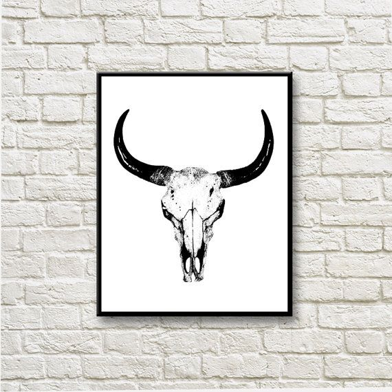 Bull Skull Graphics Printable Instant Download Home by DNgraphics
