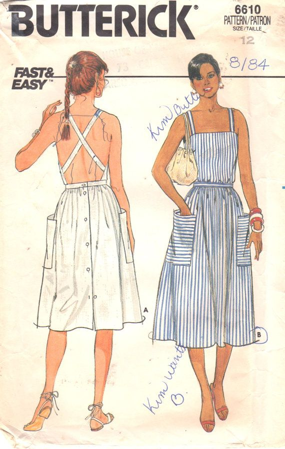 Butterick 6610 Misses Dress Pattern - Dress, below mid-knee or below mid-calf, has close-fitting bodice with straps (criss-cross in back), inset