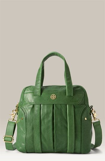 Tory Burch 'Tevin Small Leather Satchel: Olive Green, Leather Satchel, Fashion Shoes, Green Leather, Tory Burch, Leather Handbags, Girls Fashion, Girls Shoes, Green Bags