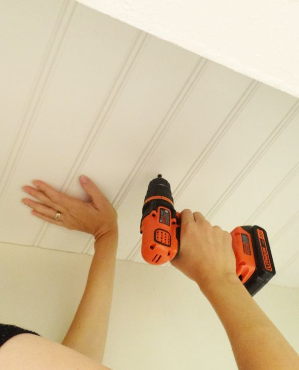 DIY Beadboard Ceiling To Replace a Basement Drop Ceiling