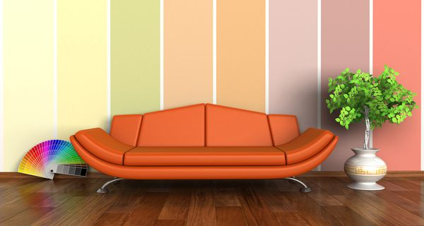 Living Room With Sofa And Warm Tones On Wall Background Hd Picture