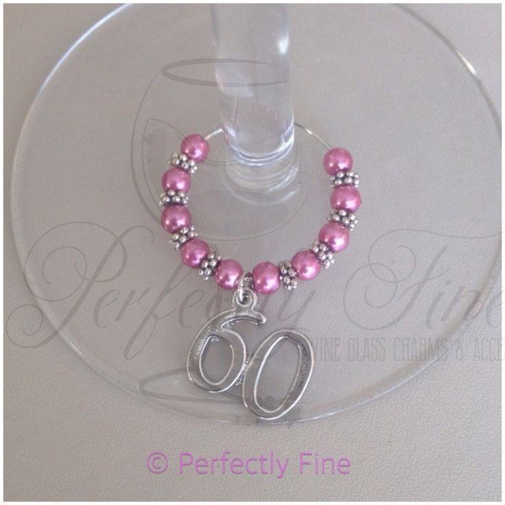 60th Birthday Wine Glass Charm. 60th Birthday Keepsake. 60th Birthday Gift. Milestone Birthday. - pinned by pin4etsy.com