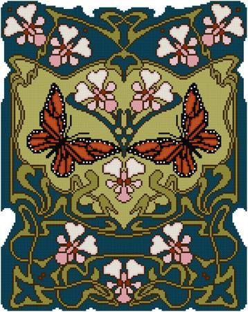 Natuur Panel No. 7 monarchvlinder en roze bloemen Cross stitch