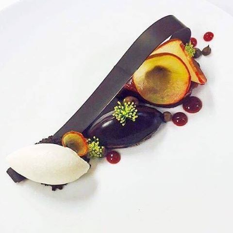 This Plum Sacher biscuit feat Valrhona JIVARA 40% & MANJARI 64% by Pastry Chef Ashley Brauze is the latest addition of CafeBoulud's menu