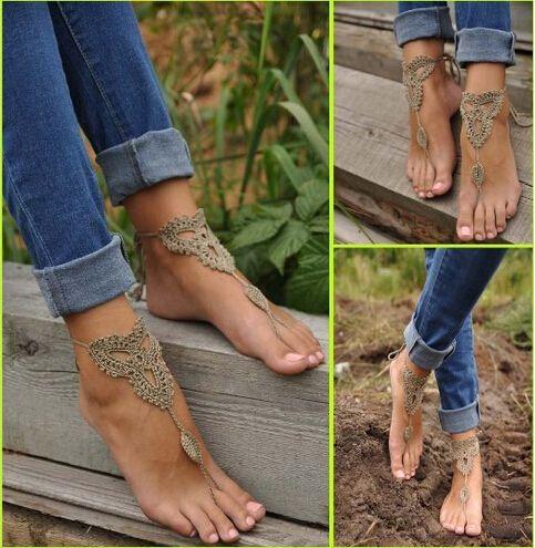 Summer Crochet Barefoot Sandals for Beach Wedding - Free pattern