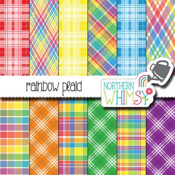 Rainbow Scrapbook Paper - rainbow plaid digital paper - bright printable paper - red, orange, yellow, green, blue & purple - commercial use