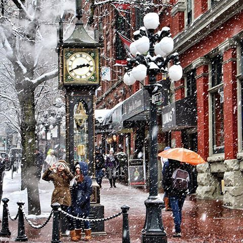 A snowy Gastown portrait.   Thanks @bon.bahar for our Daily Photo #2473! #vancouverisawesome