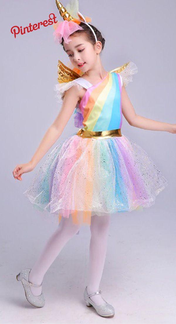 4dbcc7024 Vestido de las muchachas del Partido Del Unicornio Del Arco con la cabeza de  Halloween Halloween Cosplay Traje Niños Vestido de verano 2018 Vestido de  ...