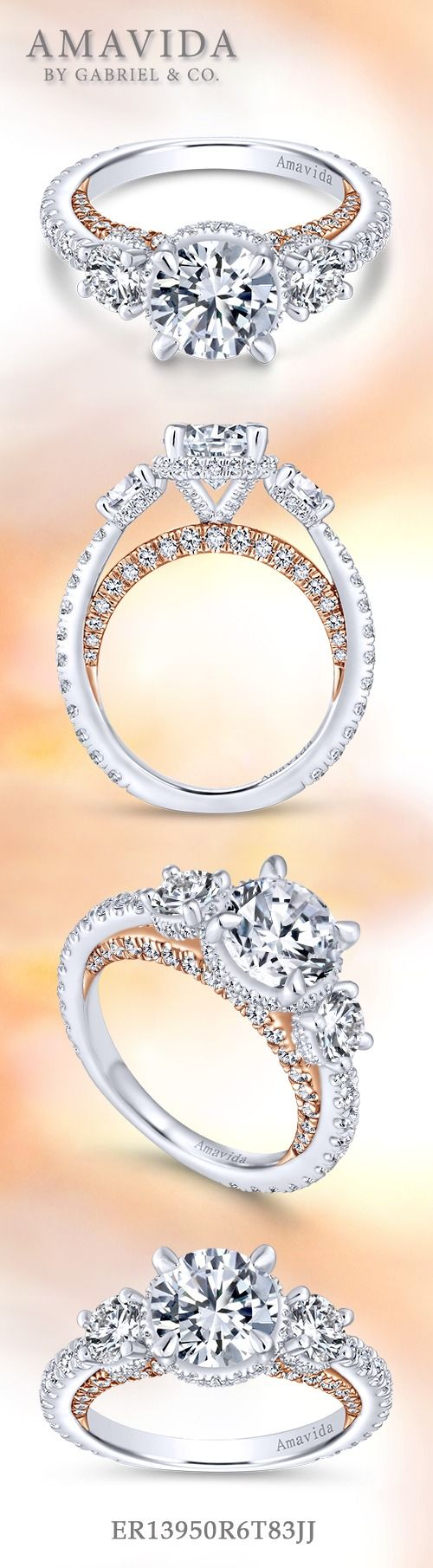 Gabriel & Co.-Voted #1 Most Preferred Fine Jewelry and Bridal Brand. 18k White/Rose Gold Round 3 Stones Halo  Engagement Ring