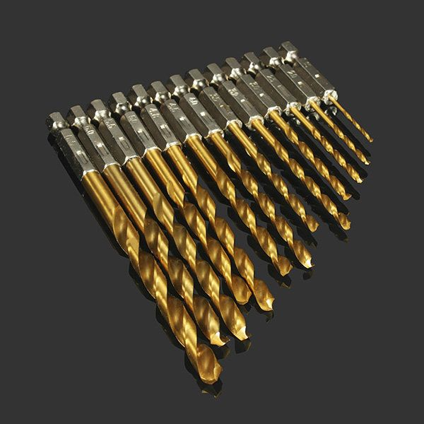 Drillpro DB-T2 13pcs 1.5-6.5mm HSS Titanium Coated 1/4 Inch Hex Shank High Speed Steel Drill Bit Set Sale - Banggood.com