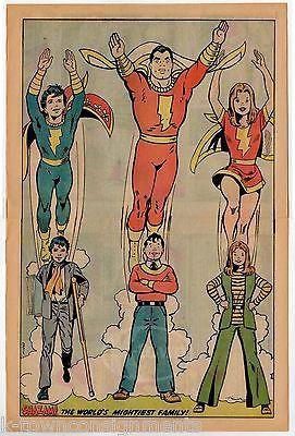 SHAZAM! CAPTAIN MARVEL JR & MARY MARVEL VINTAGE 1970s COMIC BOOK INSERT POSTER