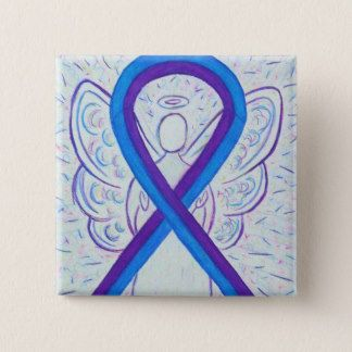 Blue and Purple Ribbon Awareness Angel Pin - The purple and blue awareness ribbon means support for pediatric stroke and rheumatoid arthritis awareness.