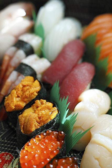 Variety of Sushi. Sea urchin, Ikura, Prawn, Scallops, Salmon etc. Love them.