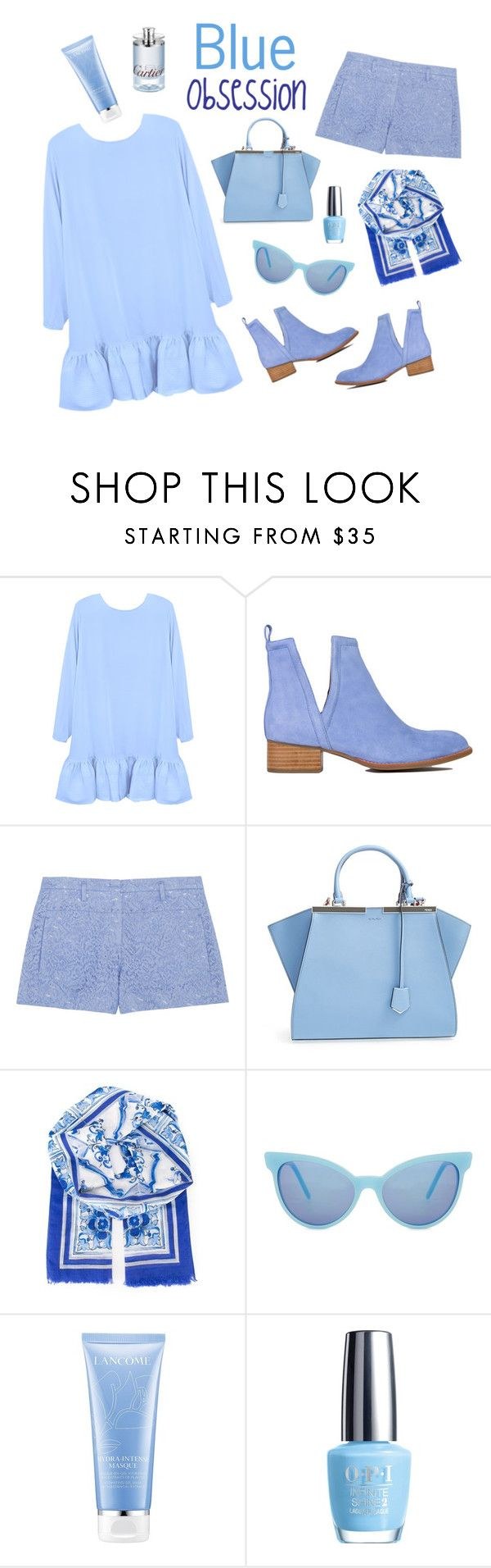 """""""Blue Obsession"""" by mara-petcana ❤ liked on Polyvore featuring Cynthia Rowley, Jeffrey Campbell, N°21, Fendi, Dolce&Gabbana, Wildfox, Lancôme and OPI"""