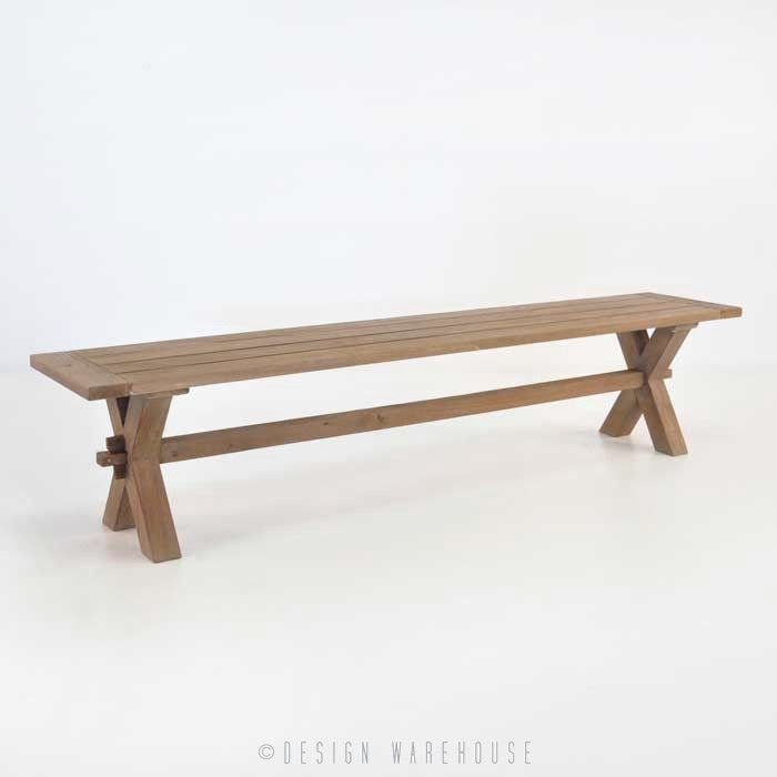 Rustic X-Leg Reclaimed Outdoor Teak Benches - Benches