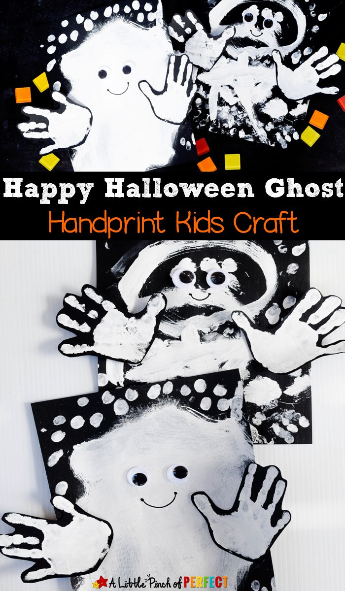 "Happy Halloween Ghost Handprint Kids Craft: These little handprint ghosts look like they are saying, ""Boo!"" (Kids art, Toddler, Preschool, kindergarten)"