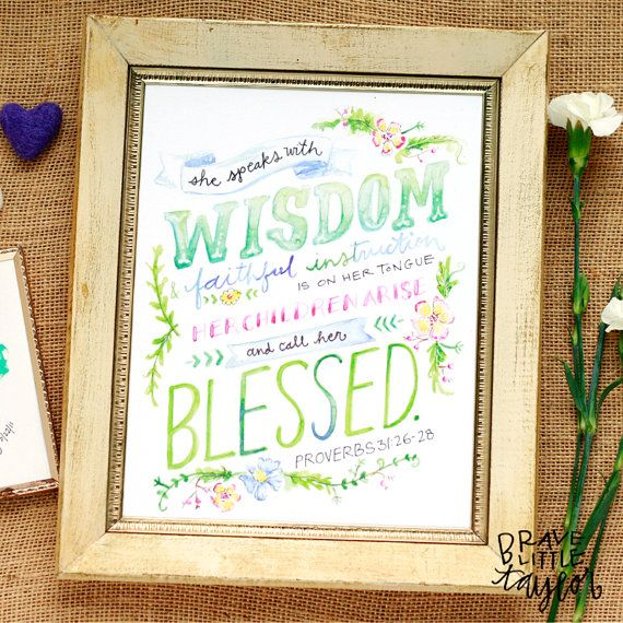 Proverbs 31 Print, Prov 31 Art, Mothers Day Gift, Scripture Watercolor, Bible Verse Art, Christian Inspirational Lettering, Mom Gift, R8P31W