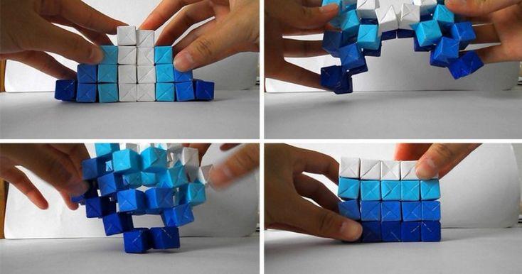 DIY escultura cinética, origami, diseñada por Jo Nakashima