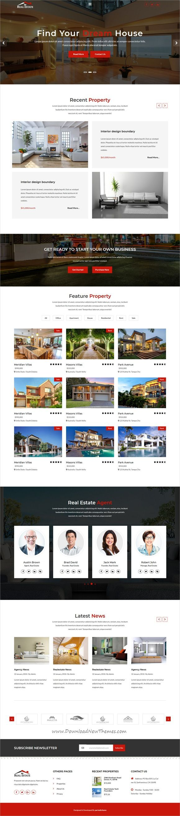 Clean and modern design responsive 4in1 bootstrap template for #realestate and #property agencies website download now #webdsign