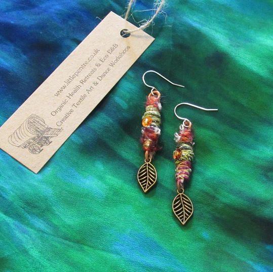 Autumn Leaves Earrings Tribal Gypsy Copper Rust Green Dangle