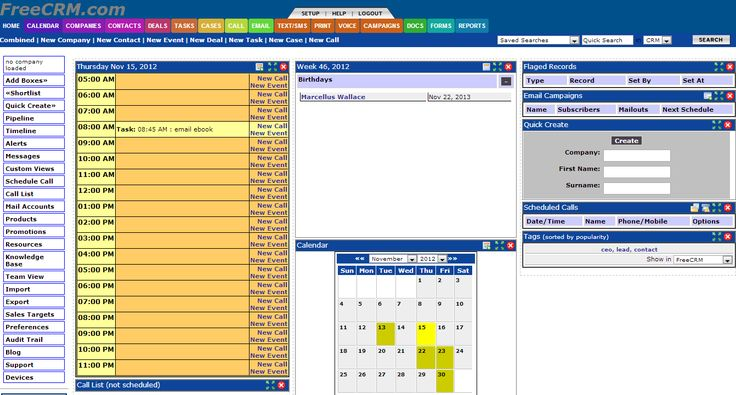Free CRM - User Interface