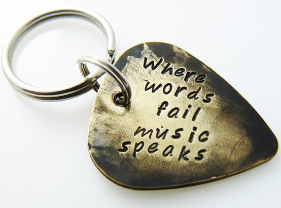 "Hand Stamped & Antiqued Copper Guitar Pick Keychain - ""Where words fail music speaks"" key chain with name / date #music #picks #guitars"