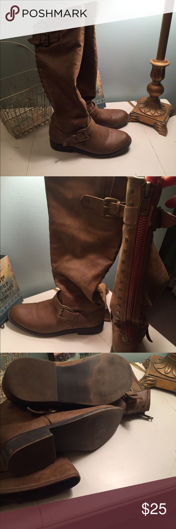 Women's riding boots So cute! Suede look, back zip with lots of cute details. Buckles and faux snap trim. Shoes Winter & Rain Boots