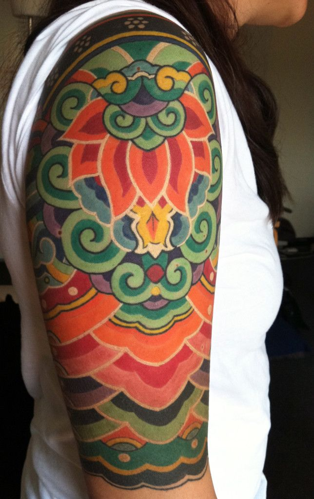 Traditional Korean pattern tattoo by Chris Dingwell