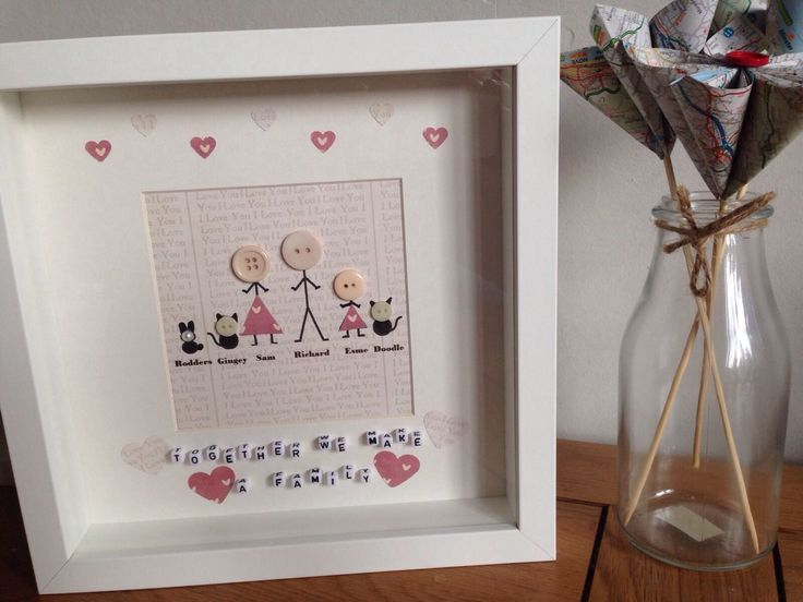 Stickmen Scrabble Box Frame Personalised Gift Wedding Birthday Mothers ...