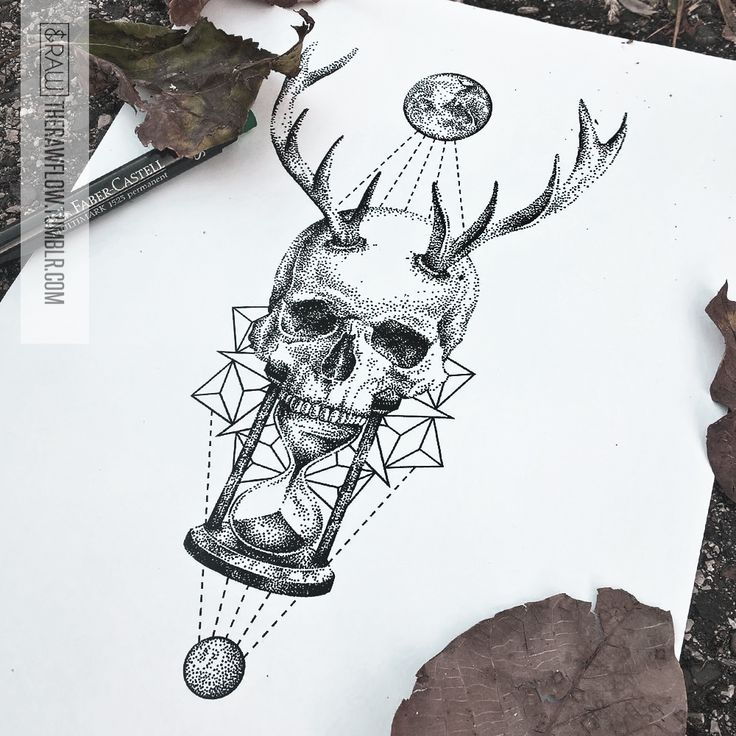 "Skull hourglass mandala astronomy tattoo design - ""Inner voice pt. 4"" - skinque.com"