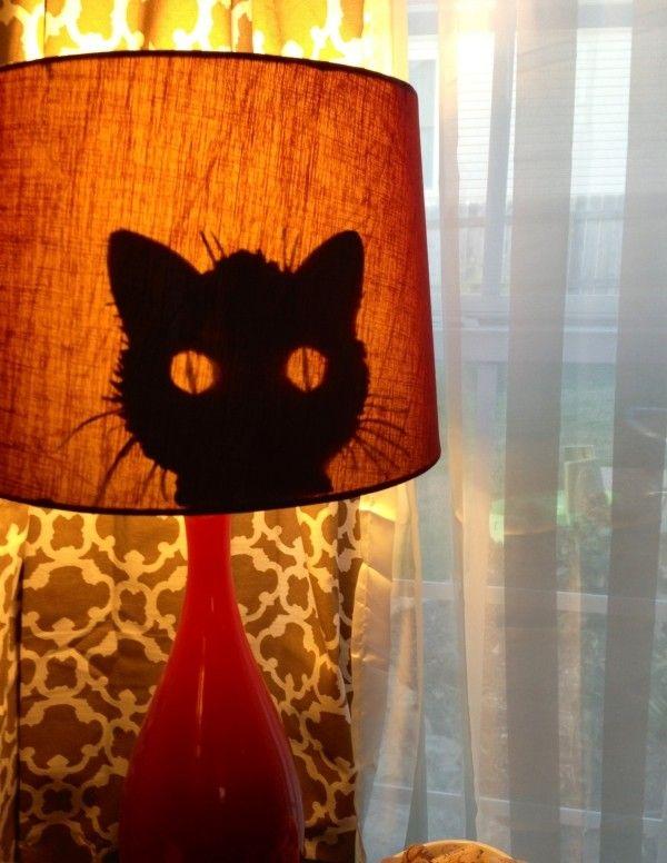 lampenschirme selber machen idee katzen silhouette halloween
